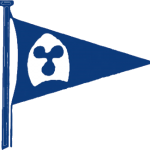 Plym Yacht Club Burgee Clip Art Logo showing burgee flag with logo depicting 3 blade propeller on a spinnaker